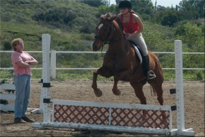 A female riders jumps her horse over a small jump while her riding lesson instructor watches.