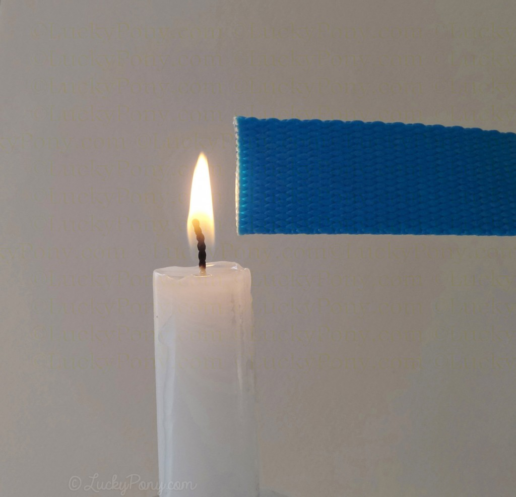 To seal the ends of freshly cut nylon, hold the edge about .25 inch from a candle flame
