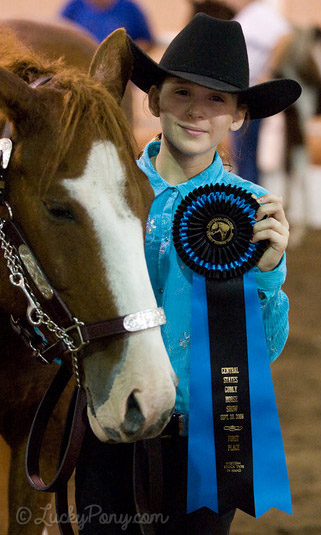 Young Rider with Blue and Black unique horse show ribbon