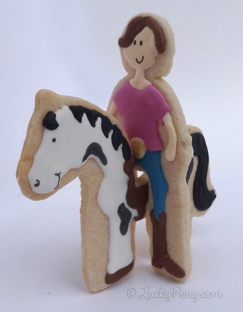 Horse and rider stand-up cookie