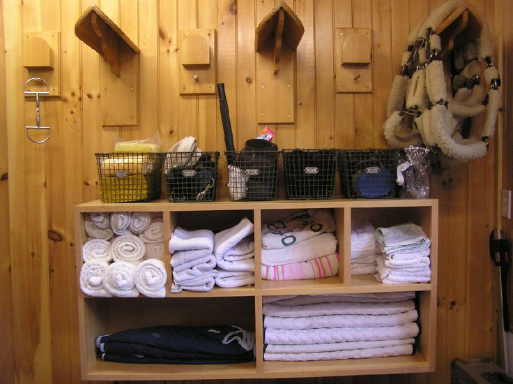 sesonal storage for shipping supplies in tack room
