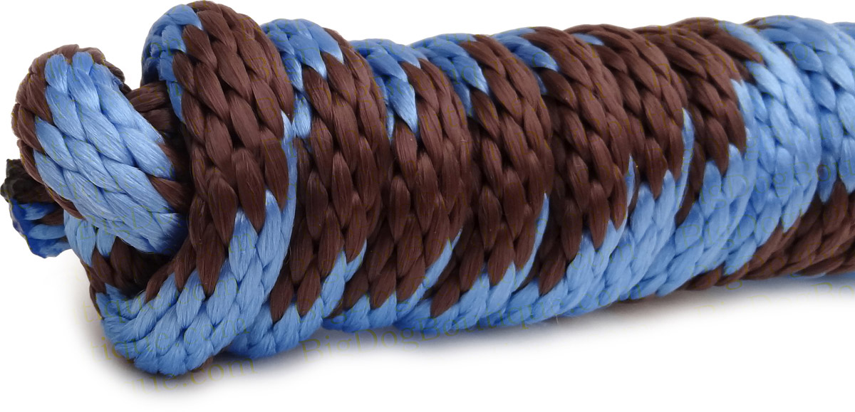 Sky Blue And Brown Horse Lead 9ft Braided Rope With Ez