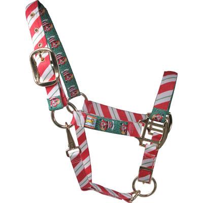 Christmas Horse Tack.Peppermint Stick Santa Christmas Horse Halter